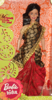 Buy Indian Barbie In Greyish Black Amp Red Saree Barbie In