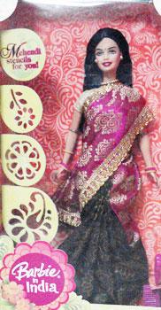 Buy Indian Barbie In Orange Amp Red Saree Barbie In Saree