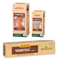 Wartex Pills, Drops and Cream Medisynth, For Warts and Corns