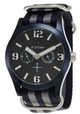 Titan Purple Multi-Function Chronograph Black Dial Men's Watch - 9473AP02J